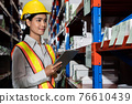 Female warehouse worker working at the storehouse 76610439