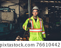 Young skillful factory worker or engineer close up portrait in factory 76610442