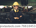 Young skillful factory worker or engineer close up portrait in factory 76610453