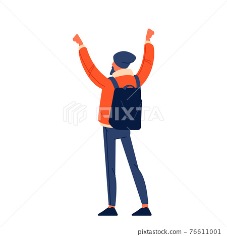 A man in a jacket with raised fists and a backpack shouts in protest for human rights in the open air. Strike against violence. Flat design character colorful illustration isolated on white 76611001