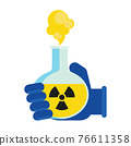 Hand in protective glove holding flask with toxic chemicals 76611358