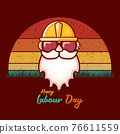 Happy labour day vector label with funky worker on vintage background. vector happy labor day background or banner with man. workers may day poster 76611559