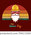 Happy labour day vector label with funky worker on vintage background. vector happy labor day background or banner with man. workers may day poster 76611560