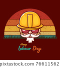 Happy labour day vector label with funky worker on vintage background. vector happy labor day background or banner with man. workers may day poster 76611562
