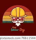 Happy labour day vector label with funky worker on vintage background. vector happy labor day background or banner with man. workers may day poster 76611564