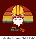 Happy labour day vector label with funky worker on vintage background. vector happy labor day background or banner with man. workers may day poster 76611565