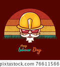 Happy labour day vector label with funky worker on vintage background. vector happy labor day background or banner with man. workers may day poster 76611566