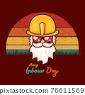 Happy labour day vector label with funky worker on vintage background. vector happy labor day background or banner with man. workers may day poster 76611569