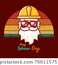 Happy labour day vector label with funky worker on vintage background. vector happy labor day background or banner with man. workers may day poster 76611575