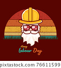 Happy labour day vector label with funky worker on vintage background. vector happy labor day background or banner with man. workers may day poster 76611599
