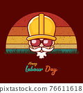 Happy labour day vector label with funky worker on vintage background. vector happy labor day background or banner with man. workers may day poster 76611618