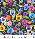 Beautiful vector seamless floral pattern with watercolor gentle colorful summer pansy flowers. Stock illustration. 76613618