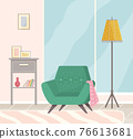 Flat design interior. Planning and arrangement of furniture in apartment. Living room. Home lifestyle. Style house 76613681