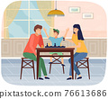 Mother, father and son playing board game together. Family members playing chess at home together 76613686