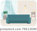 Flat design interior. Planning and arrangement of furniture in apartment. Living room. Home lifestyle. Style house 76613690