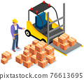 Driver looks at forklift with boxes, carriage of cardboard containers with parcels inside 76613695
