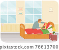 Dad measuring temperature to kid with flu or colds or virus infection. Child care parenthood concept 76613700