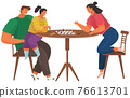 Cheerful family playing chess. Parents and children with board games spend time in kitchen 76613701