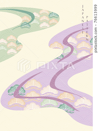 Japanese background with bonsai tree pattern vector. Vintage banner with abstract art decoration template. 76613999