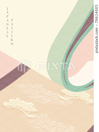 Chinese background with paper roll element vector. Bonsai tree decoration with Japanese wave pattern banner in vintage style. 76614005