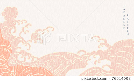 Japanese background with hand draw wave decoration vector. Line pattern with Asian traditional banner design in vintage style. 76614008