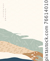 Abstract background with Japanese pattern vector. natural mountain template with hand draw wave and bamboo icon in vintage style. 76614010
