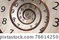 Vintage wood spin round clock face. 3D Render. 76614250