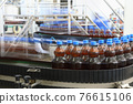 The flow of plastic bottles filled with beer moves along the conveyor belt 76615106
