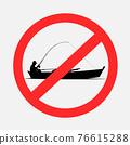 boat fishing prohibited sign symbol 76615288