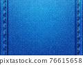 Denim rectangular background.Blue rough vector texture zwith threads. 76615658