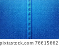 Denim rectangular background.Blue rough vector texture zwith threads. 76615662