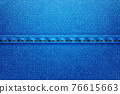 Denim rectangular background.Blue rough vector texture zwith threads. 76615663