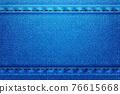 Denim rectangular background.Blue rough vector texture zwith threads. 76615668