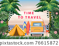 Time to travel. Tourist tent camping on the tropical beach, van, surfboards, palms. Summer vacation coastline beach sea, ocean, surfing, travel, sunset 76615872