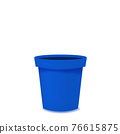 Flower pot realistic empty blue ceramic or plastic. Vector template 76615875