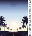 summer paradise road trip beautiful sunset tropical palm 76618412