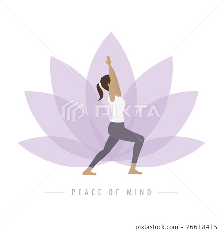 yoga girl on colorful lotus flower background peace of mind 76618415