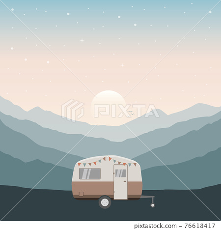 camper summer holiday on a road trip 76618417