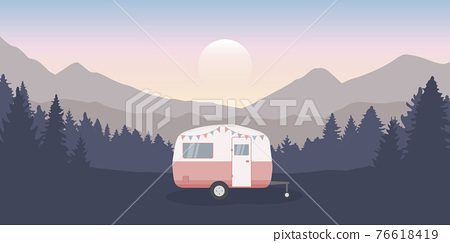 wanderlust camping adventure in the wilderness with camper 76618419