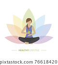 healthy yoga girl with apple on colorful lotus flower background 76618420