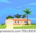 Residential Home Building in landscape tropic trees, palms. House exterior facades front view architecture family cottage house or mansion apartments, villa. Suburban property 76618958
