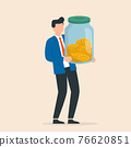 Businessman holding glass jar with full of coins. Saving income in glass bottle for retirement or deposit. 76620851