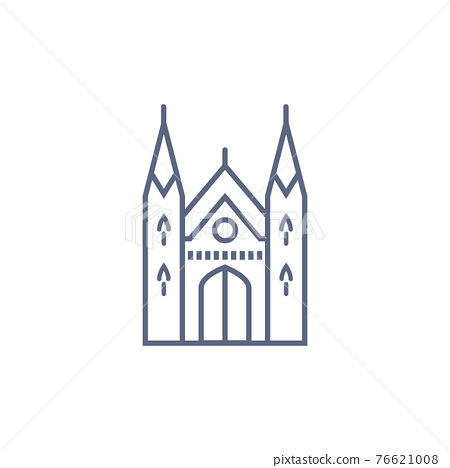 Cathedral line icon - catholic chapel simple linear pictogram on white background. Vector illustration. 76621008