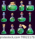 Set of Bottles liquid potion magic elixir colorful . Game icon GUI for app games user interface. Vector illstration isolated cartoon style on black background 76622176