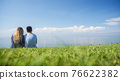 A young couple in love is sitting nearby on a green lawn on the background of an endless blue sky 76622382