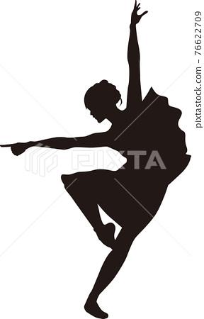 ballerina, (female) ballet dancer, silhouette 76622709