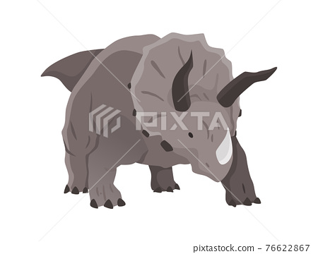 Triceratops dinosaur flat icon. Colored isolated prehistoric reptile monster on white background. Herbivorous vector cartoon dino animal 76622867
