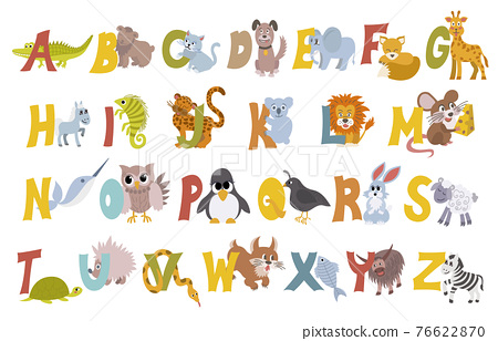 Animal alphabet vector set with english letters from A to Z, isolated on white background. Funny hand drawn style characters. Learn kids to read with different cute toys collection in vector 76622870