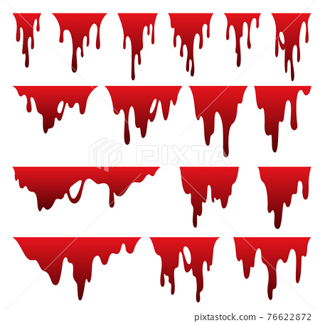 Paint dripping liquid. Flowing oil stain. Set of red drips. Current ink streak, fluid smudge. Vector illustration on white background 76622872
