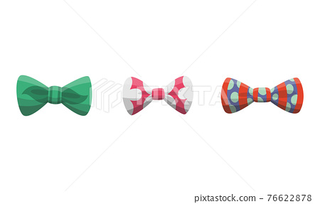 Collection of bow ties. Clothes design element over isolated on white background. Fabric items for male wardrobe in elegant style 76622878